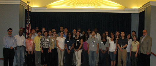 A picture of the NEI Summer Intern Program 2009 interns.