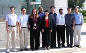 (from left to right) Zhongshu Tang, Ph.D., Visiting Fellow; Chunsik Lee, Ph.D., Visiting Fellow; Susan Dailey, Administrative Laboratory Manager; Anil Kumar Chikkasidde Gowda, Visiting Fellow; Xuri Li,Ph.D., Principal Investigator; Zhang Fan, Ph.D., Visiting Fellow; Pachippan Arjunan, Ph.D., Visiting Fellow; Xu Hou, Ph.D., Visiting Fellow; Yang Li, Ph.D.,  Contractor