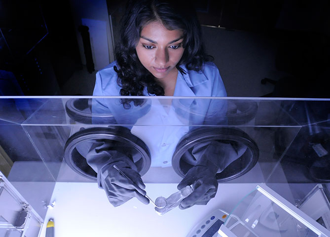 Goddard technologist Nithin Abraham studies a paint sample in her laboratory.