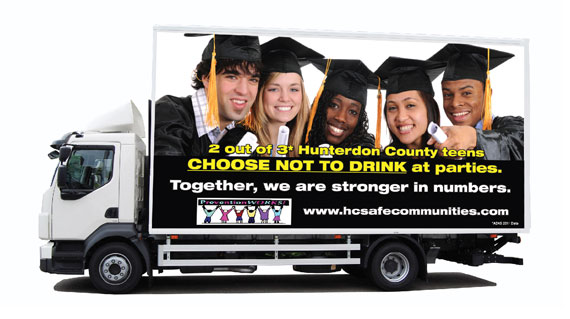 Photo of a Safe Communities Coalition travelling advertisement