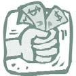 Clip art of a hand holding dollar bills.
