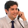 Man talking on telephone.