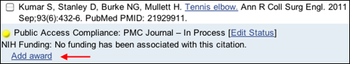 Screen capture of Add award link in citation