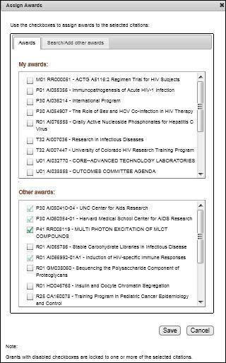 Screen capture of Updated Assign Awards window