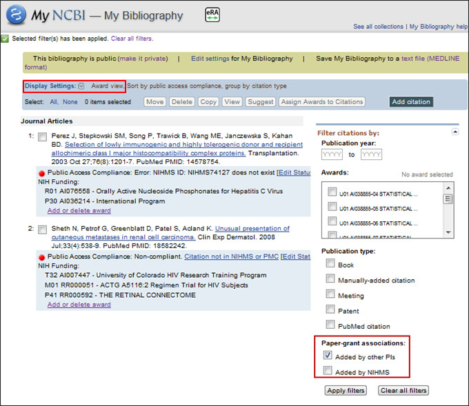 Screen capture of Paper-grant associations filters in the Award View display