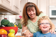 mother and boy in kitchen