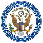 Seal of the U.S. Interagency Council on Homelessness, showing an eagle holding olive leaves and arrows in its talons.