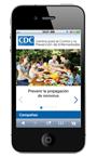 Teléfono móvil con la página móvil de los CDC en Español
