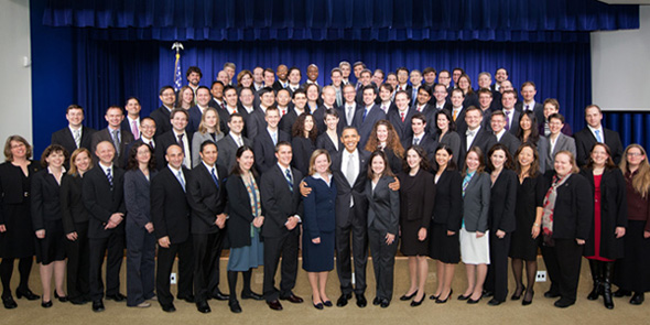President Barack Obama poses for a group photo with the 2009 Recipients for the Presidential Early Career Award for Scientists and Engineers in the South Court Auditorium of the White House Dec. 13, 2010. (Official White House Photo by Chuck Kennedy)