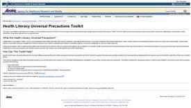 Screenshot of Health Literacy Universal Precautions Toolkit