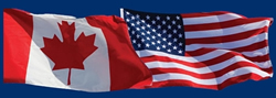 The flags of the United States and Canada
