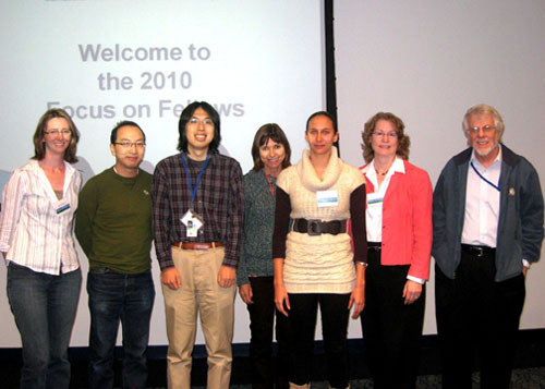 2010 Focus on Fellows Best Scientific Presentations with the NEI Leadership.  (left to right) Dr. Dr. Anna Hansen, Dr. Wei Li (standing in for Dr. Jodie Pope), Dr. Shinya Yamamoto, Dr. Sarah Sohraby (Deputy Scientific Director), Marie-Audrey Kautzmann, Dr. Deborah Carper (NEI Deputy Director), and Dr. Sheldon Miller (Scientific Director).