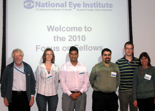 2010 Scientific Directors Award Winners with the NEI Leadership.  (left to right) Dr. Sheldon Miller (Scientific Director), Dr. Anna Hansen, Dr. Brajendra Tripathi, Dr. Cesar Perez-Gonzalez (Intramural Training Program Manager), Dr. Jerome Roger (N-NRL, Dr. Swaroop), and Dr. Sarah Sohraby (Deputy Scientific Director).