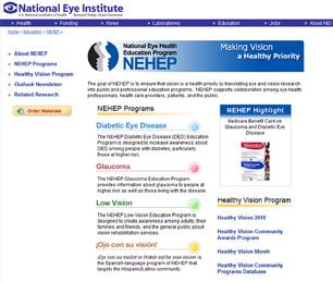 NEHEP Website homepage