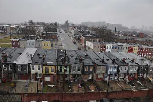 Baltimore's Oliver Neighborhood is a mix of occupied and abandoned rowhouses. The U.S. Forest Service is working with partners to host the Carbon Challenge green building design contest, promoting sustainable and livable neighborhoods in Baltimore and Providence, R.I. (L.F. Chambers, U.S. Forest Service photo)