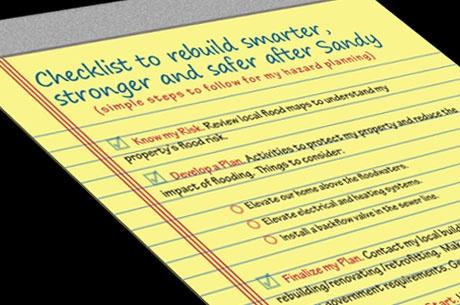 Checklist to rebuild smarter, stronger and safer after Sandy