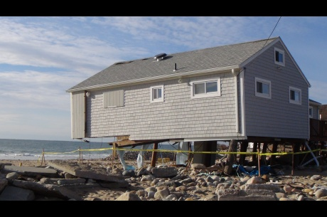 This home facing Misquamicut Beach was damaged following Hurricane Sandy in Westerly, Rhode Island. FEMA is working with state and local officials to assist residents who were affected by Hurricane Sandy.