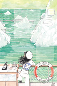 woman looking out at icebergs from a ship