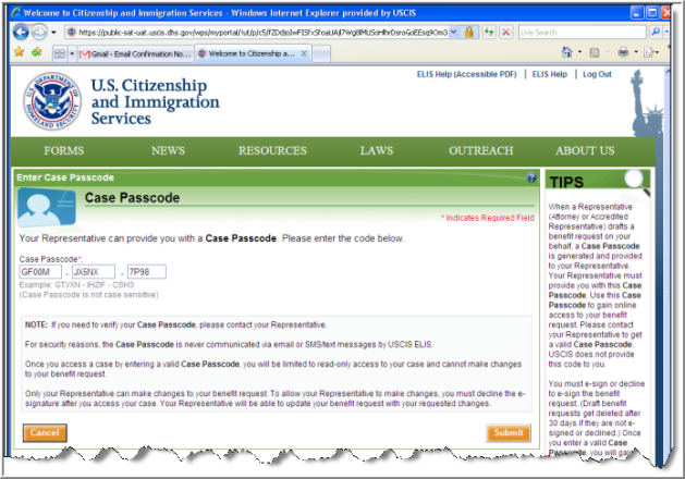 Case Passcode Screen