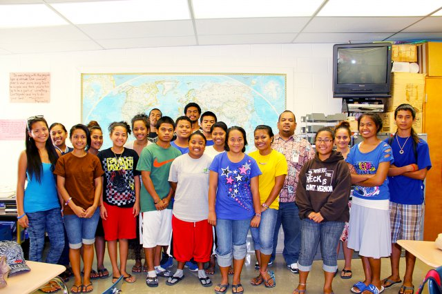 RMI Ambassador to the U.S., Charles Paul, fifth from right, visits and has lunch with current Ri'katak students at Kwajalein Junior/Senior High School. Paul graduated from KHS in 1999 and was part of the first class of Ri'katak students at Kwajalein Schools.