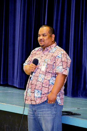 Former Ri'katak student and Kwajalein High School graduate, and now RMI Ambassador to the U.S., Charles Paul, visits Kwajalein Schools Jan. 31.