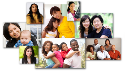 A grouping of photos showing individuals from several ethnic groups.