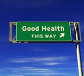 Good health this way road sign