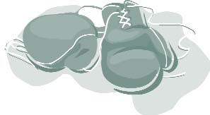 Clip art of a pair of boxing gloves.
