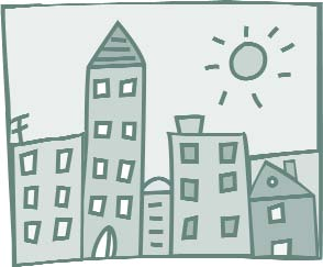 Clip art of a city with the sun shining over it.