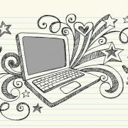 laptop sketched onto lined paper