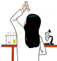 woman viewing test tube