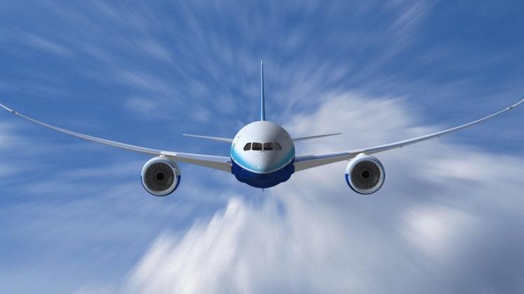 Airplane Flying Through Air