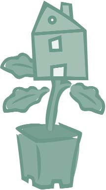 Clip art of a house blooming from a plant in a planter.