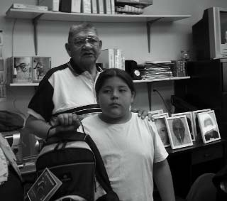 Elder mentor with youth.
