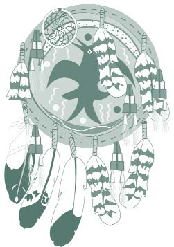 Clip art of a Native American dreamcatcher.