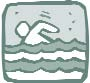 Clip art of a person swimming in choppy water.