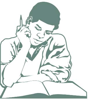 Clip art of a young man studying a book.