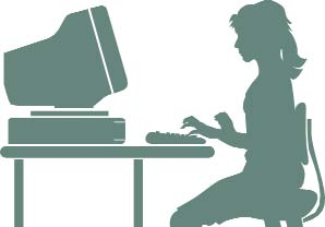 Clip art of a young woman using a home computer.