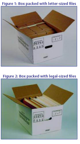 Boxes packed with letter and legal sized files.
