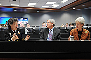 HHS Assistant Secretary for Preparedness and Response Nicole Lurie, Deputy Secretary Bill Corr, and Secretary Kathleen Sebelius discuss the aftermath of Hurricane Sandy in the Secretary's Operations Center (SOC).
