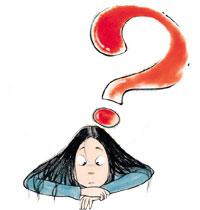 a question mark over Sara's head
