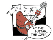 At the guitar...the liver