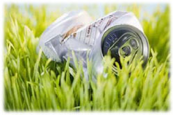 Can on grass