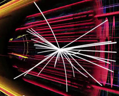 still image from video showing simulated particle collision