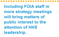 Including FOIA staff in more strategy meeting will bring matters of public interest to the attenton of HHS leadership