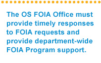 The OS FOIA Office must provide timely responses to FOIA requests and provide department-wide FOIA Program support
