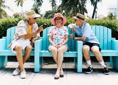 Elders on park bench