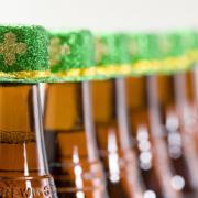A row of beer bottles.