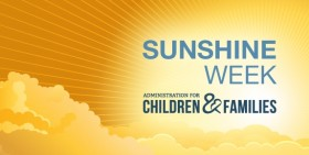 """A sun shining through clouds with the ACF Logo and the words """"Sunshine Week"""""""