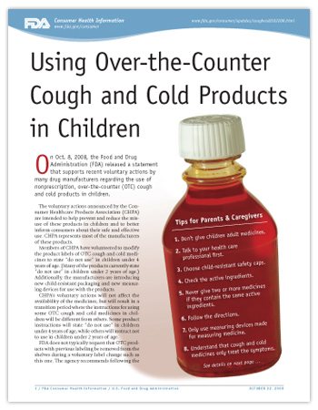 Cover page of PDF version of this article, including photo of cough syrup bottle with an abbreviated list of the eight tips in the article text in place of the medicine label